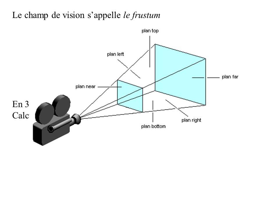 Le champ de vision sappelle le frustum En 3D, cest lespace compris entre les 6 plans.