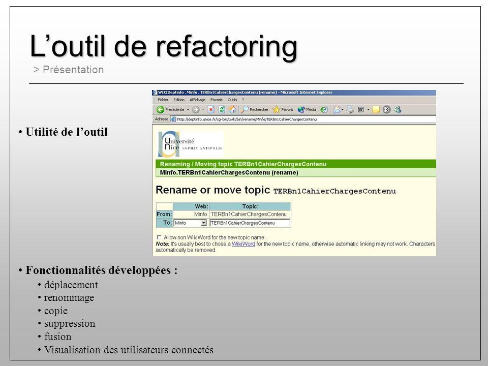 > Présentation Loutil de refactoring Utilité de loutil déplacement renommage copie suppression fusion Visualisation des utilisateurs connectés Fonctionnalités développées :