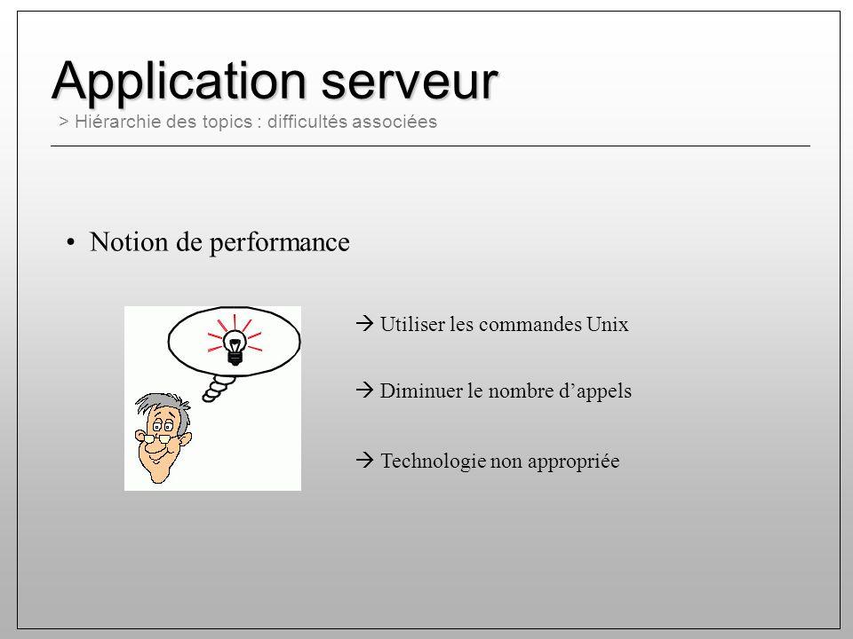 > Hiérarchie des topics : difficultés associées Application serveur Notion de performance Utiliser les commandes Unix Diminuer le nombre dappels Technologie non appropriée
