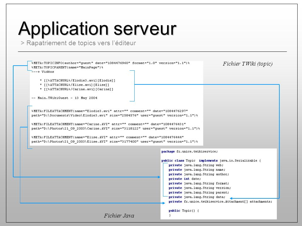 > Rapatriement de topics vers léditeur Application serveur Fichier Java Fichier TWiki (topic)