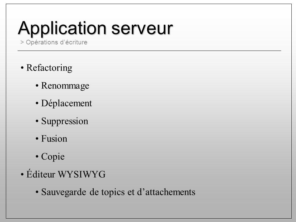 > Opérations décriture Application serveur Refactoring Renommage Déplacement Suppression Fusion Copie Éditeur WYSIWYG Sauvegarde de topics et dattachements