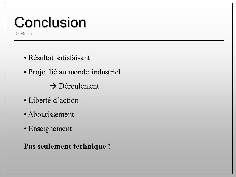 Conclusion > Bilan Résultat satisfaisant Projet lié au monde industriel Déroulement Liberté daction Aboutissement Enseignement Pas seulement technique !