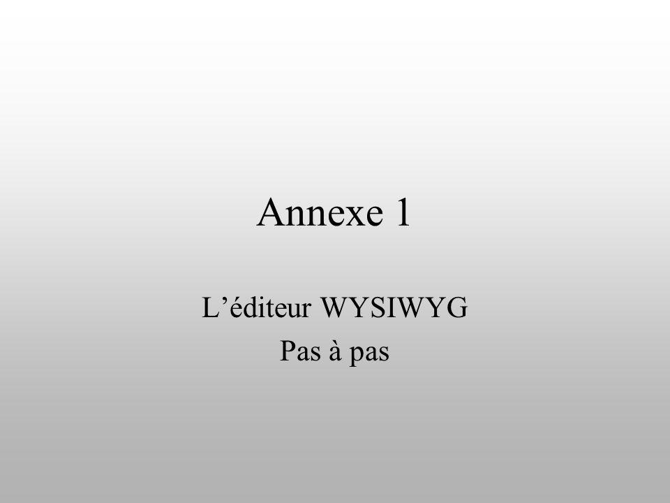 Annexe 1 Léditeur WYSIWYG Pas à pas