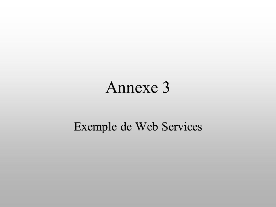 Annexe 3 Exemple de Web Services