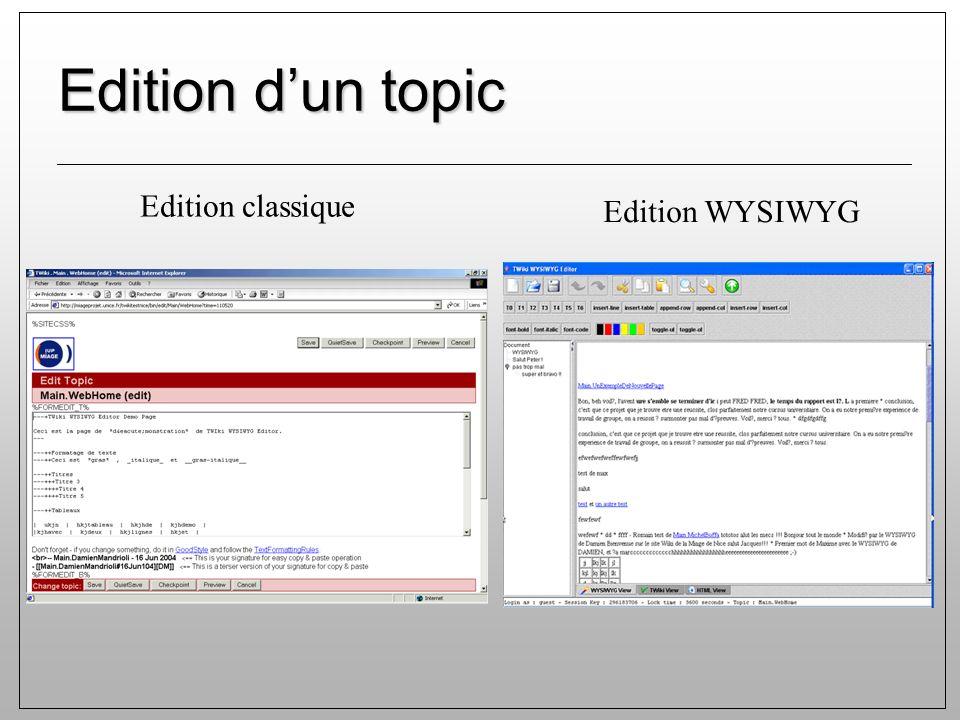 Edition dun topic Edition classique Edition WYSIWYG