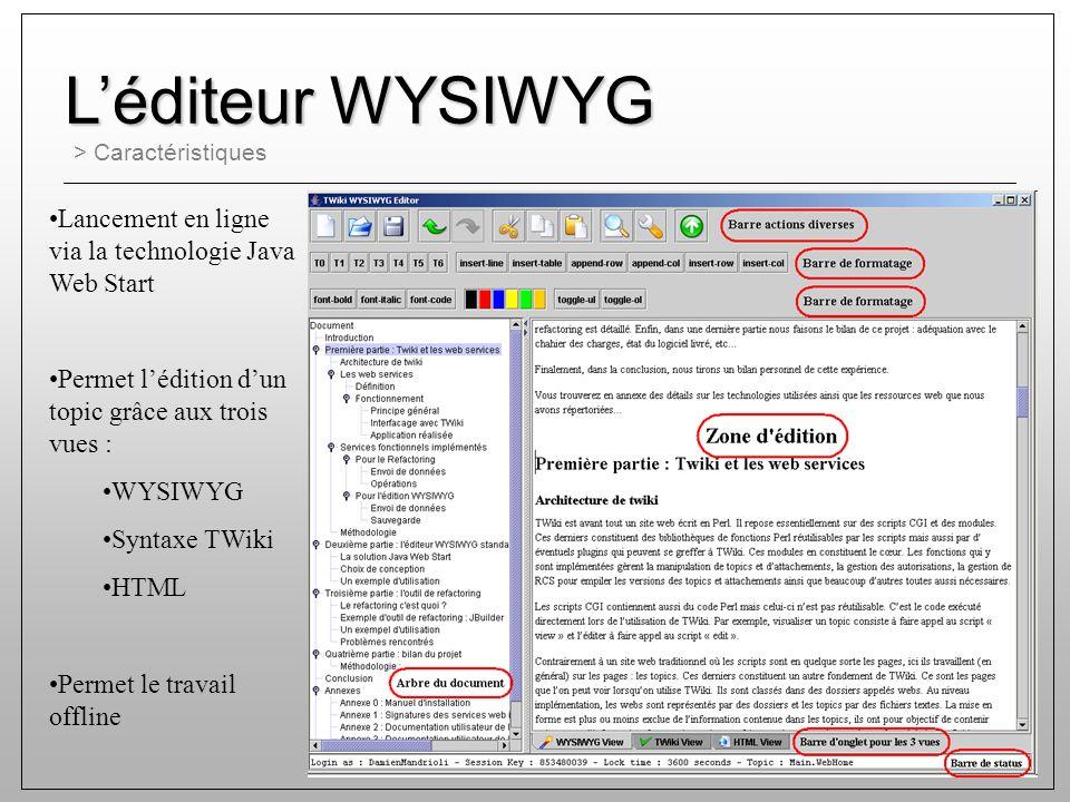 > Caractéristiques Léditeur WYSIWYG Lancement en ligne via la technologie Java Web Start Permet lédition dun topic grâce aux trois vues : WYSIWYG Syntaxe TWiki HTML Permet le travail offline