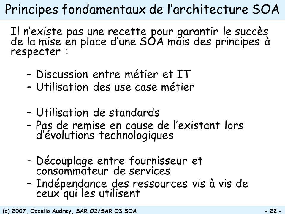 (c) 2007, Occello Audrey, SAR O2/SAR O3 SOA - 22 - Principes fondamentaux de larchitecture SOA Il nexiste pas une recette pour garantir le succès de l
