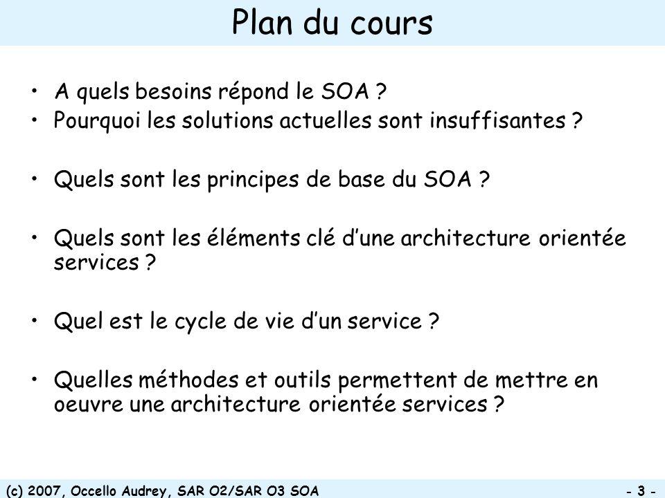 (c) 2007, Occello Audrey, SAR O2/SAR O3 SOA - 3 - Plan du cours A quels besoins répond le SOA ? Pourquoi les solutions actuelles sont insuffisantes ?