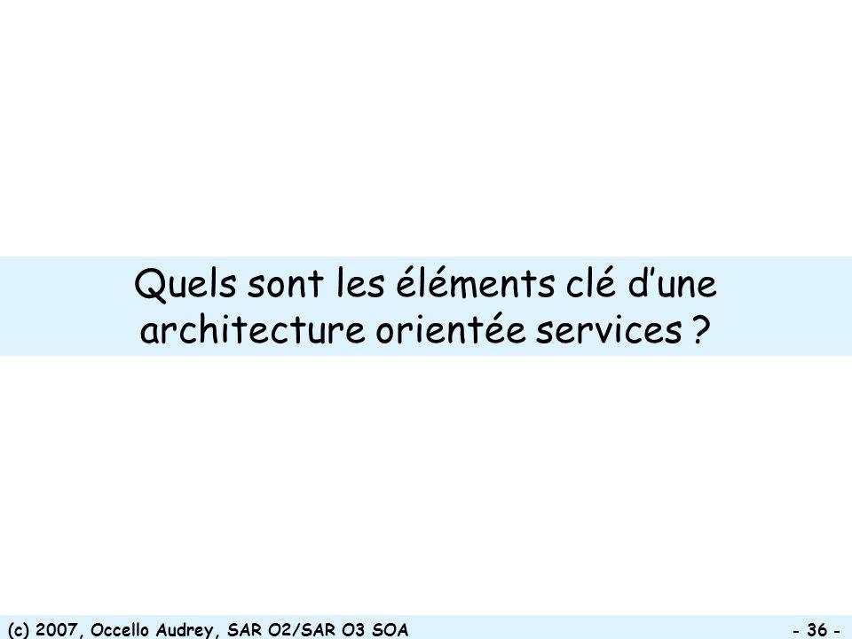 (c) 2007, Occello Audrey, SAR O2/SAR O3 SOA - 36 - Quels sont les éléments clé dune architecture orientée services ?