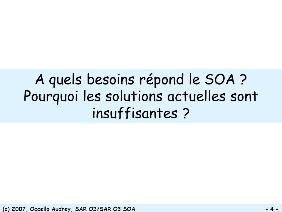 (c) 2007, Occello Audrey, SAR O2/SAR O3 SOA - 35 - Bénéfices techniques Réduire la complexité de la solution Construire les services une seule fois et les utiliser fréquemment Garantir une intégration standardisée et le support de clients hétérogènes Faciliter la maintenabilité