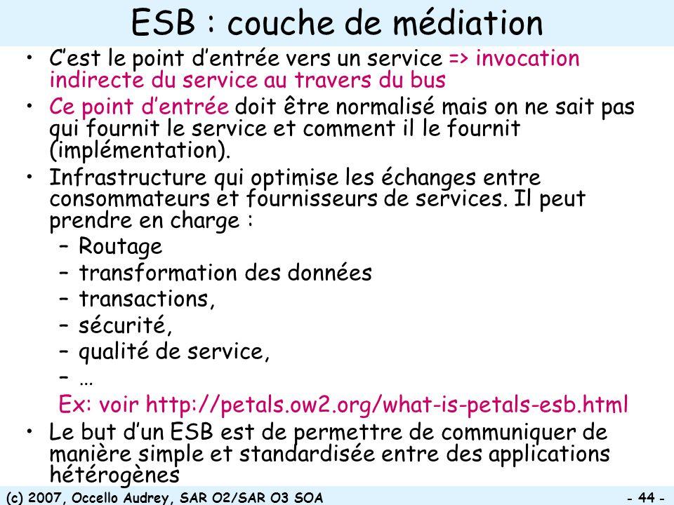 (c) 2007, Occello Audrey, SAR O2/SAR O3 SOA - 44 - ESB : couche de médiation Cest le point dentrée vers un service => invocation indirecte du service