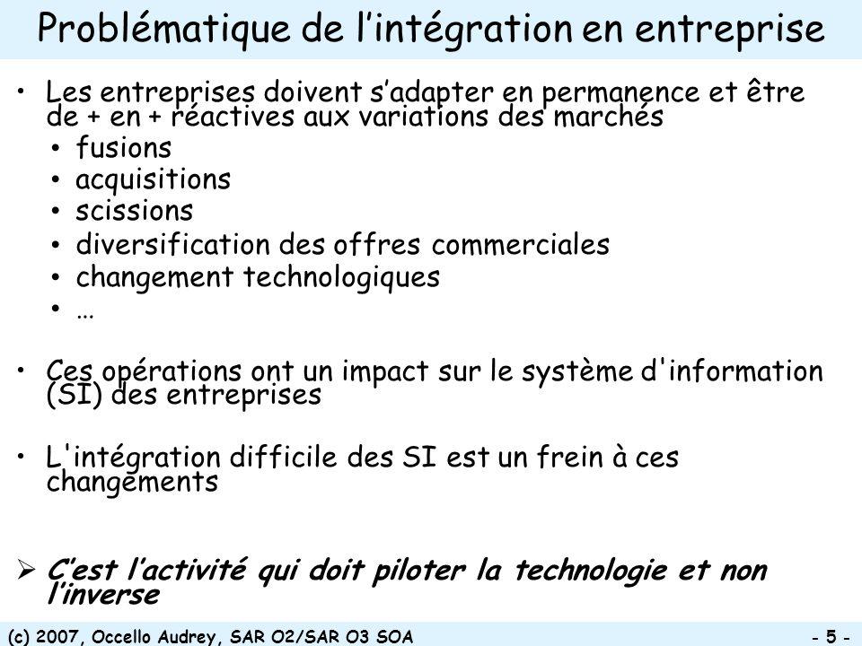 (c) 2007, Occello Audrey, SAR O2/SAR O3 SOA - 56 - 2 méthodes didentification des services Une première phase d indentification doit être effectuée sur l ensemble du SI dans le cadre de son urbanisation en s appuyant sur la cartographie des domaines métiers de l entreprise et sur le code existant Approche incrémentale : une phase d identification est nécessaire au démarrage de chaque nouveau projet SOA en s appuyant sur les processus et services répertoriés précédemment Approche Bottom-up : –On part des briques informatiques, on rassemble les bouts (abstraction) –Réalisée généralement par la MOE –Plus adéquat pour réutiliser lexistant non SOA-isé Approche Top-down : –On part des interactions métier pour aboutir aux interactions techniques –Réalisée généralement par la MOA –Plus adéquat pour démarrer un nouveau projet