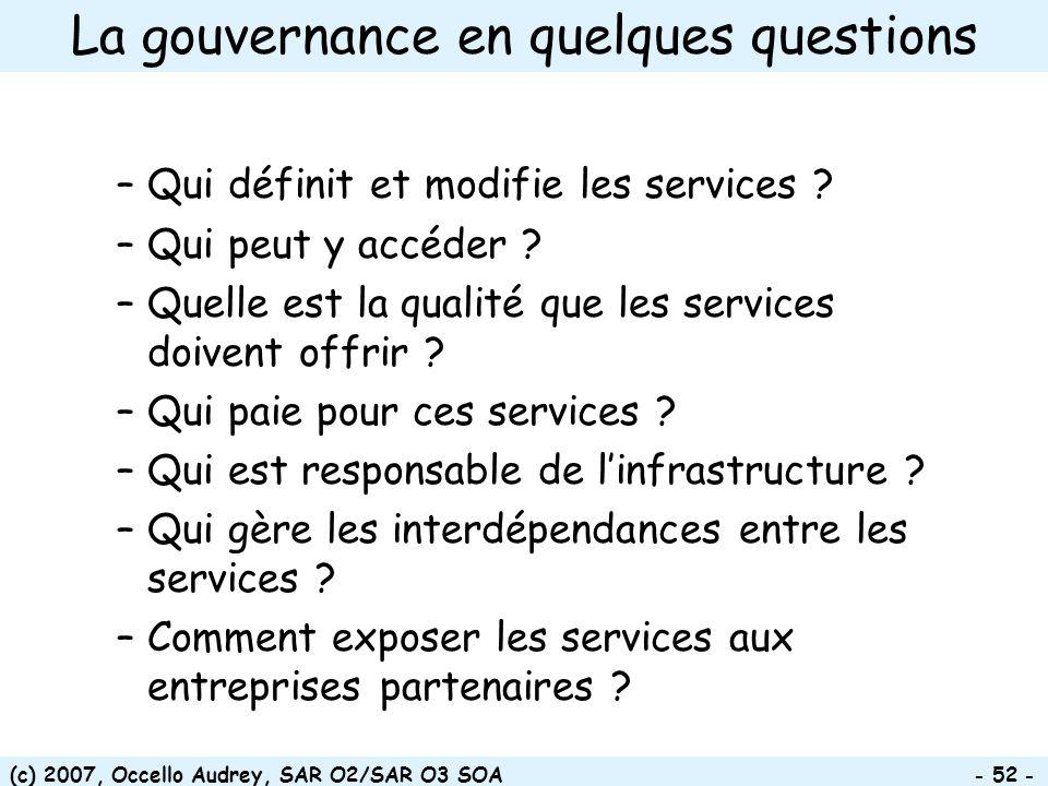 (c) 2007, Occello Audrey, SAR O2/SAR O3 SOA - 52 - La gouvernance en quelques questions –Qui définit et modifie les services ? –Qui peut y accéder ? –