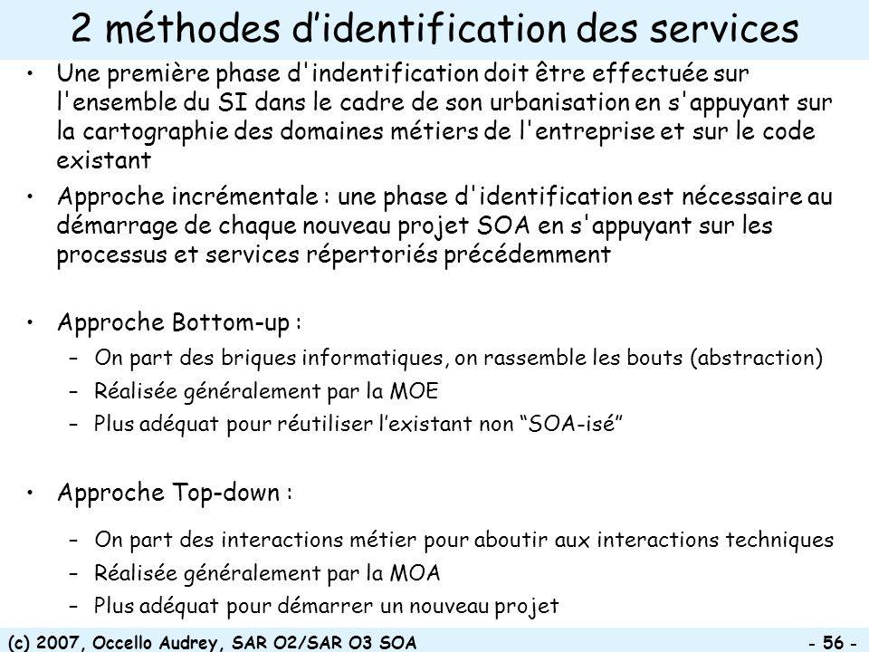 (c) 2007, Occello Audrey, SAR O2/SAR O3 SOA - 56 - 2 méthodes didentification des services Une première phase d'indentification doit être effectuée su