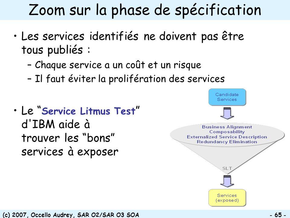 (c) 2007, Occello Audrey, SAR O2/SAR O3 SOA - 65 - Les services identifiés ne doivent pas être tous publiés : –Chaque service a un coût et un risque –