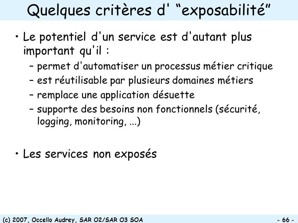 (c) 2007, Occello Audrey, SAR O2/SAR O3 SOA - 66 - Le potentiel d'un service est d'autant plus important qu'il : –permet d'automatiser un processus mé
