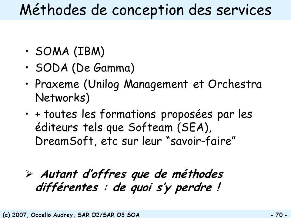 (c) 2007, Occello Audrey, SAR O2/SAR O3 SOA - 70 - Méthodes de conception des services SOMA (IBM) SODA (De Gamma) Praxeme (Unilog Management et Orches