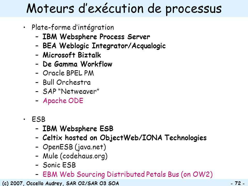 (c) 2007, Occello Audrey, SAR O2/SAR O3 SOA - 72 - Moteurs dexécution de processus Plate-forme dintégration –IBM Websphere Process Server –BEA Weblogi