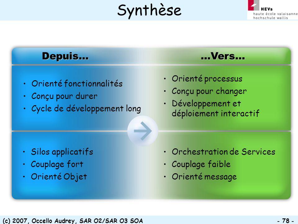 (c) 2007, Occello Audrey, SAR O2/SAR O3 SOA - 78 - Synthèse Orienté fonctionnalités Conçu pour durer Cycle de développement long Depuis……Vers… Orienté