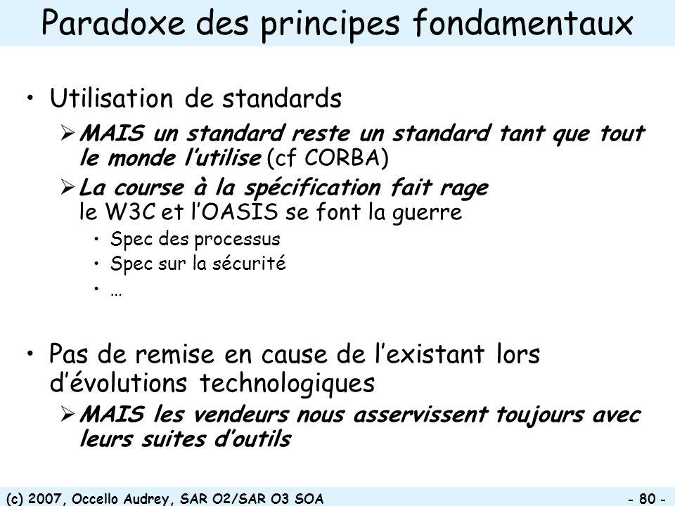 (c) 2007, Occello Audrey, SAR O2/SAR O3 SOA - 80 - Paradoxe des principes fondamentaux Utilisation de standards MAIS un standard reste un standard tan