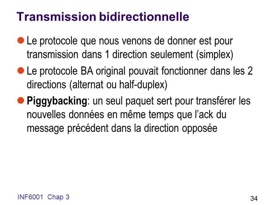 INF6001 Chap 3 34 Transmission bidirectionnelle Le protocole que nous venons de donner est pour transmission dans 1 direction seulement (simplex) Le p