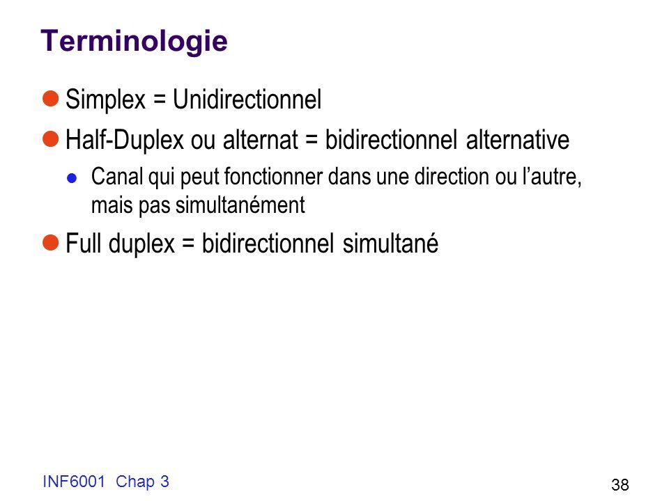 INF6001 Chap 3 38 Terminologie Simplex = Unidirectionnel Half-Duplex ou alternat = bidirectionnel alternative Canal qui peut fonctionner dans une dire