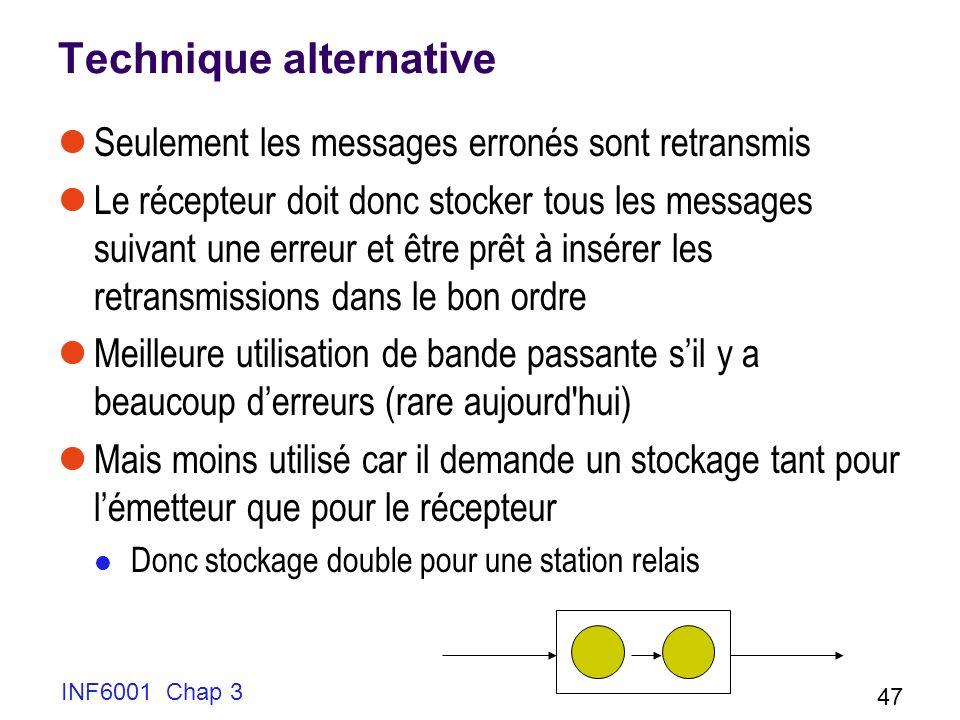INF6001 Chap 3 47 Technique alternative Seulement les messages erronés sont retransmis Le récepteur doit donc stocker tous les messages suivant une er