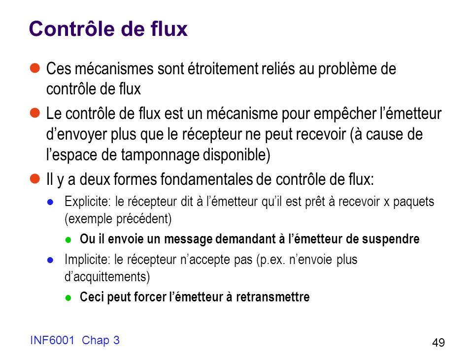 INF6001 Chap 3 49 Contrôle de flux Ces mécanismes sont étroitement reliés au problème de contrôle de flux Le contrôle de flux est un mécanisme pour em