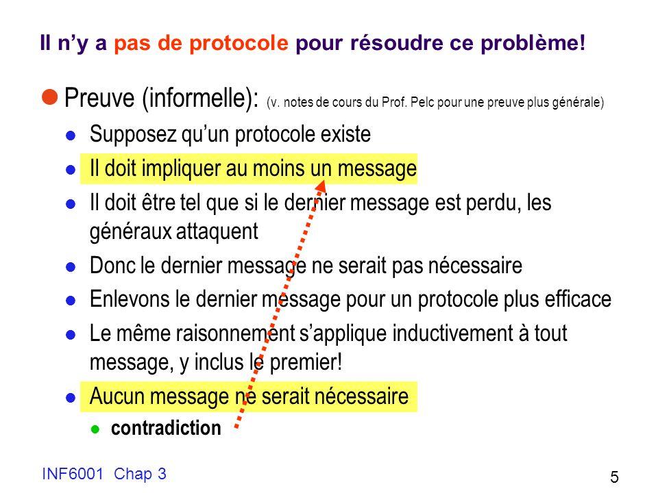 INF6001 Chap 3 16 Utilisation du bit alterné Le protocole commence le comptage à 0 Pour pouvoir reprendre, il faut donner au récepteur la possibilité de demander le renvoi du message perdu 0 Message 0 Message 1 2 3 bit=0 1 0 Attend 0, OK Attend 1, reçoit 0 Erreur