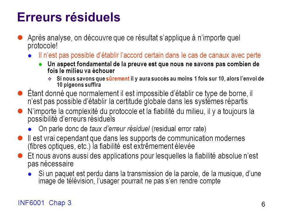 INF6001 Chap 3 6 Erreurs résiduels Après analyse, on découvre que ce résultat sapplique à nimporte quel protocole! Il nest pas possible détablir lacco