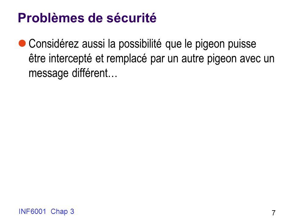 INF6001 Chap 3 7 Problèmes de sécurité Considérez aussi la possibilité que le pigeon puisse être intercepté et remplacé par un autre pigeon avec un me