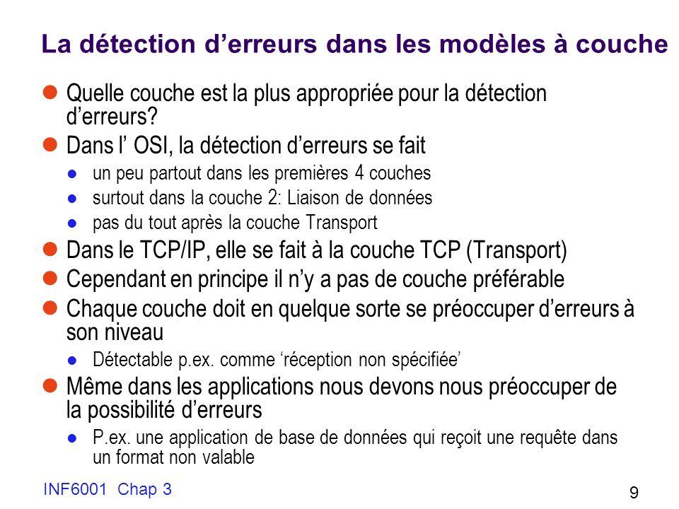 INF6001 Chap 3 9 La détection derreurs dans les modèles à couche Quelle couche est la plus appropriée pour la détection derreurs? Dans l OSI, la détec