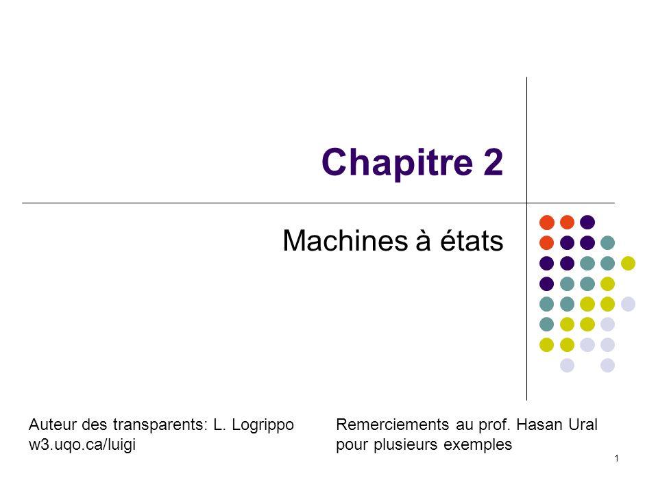 1 Chapitre 2 Machines à états Remerciements au prof. Hasan Ural pour plusieurs exemples Auteur des transparents: L. Logrippo w3.uqo.ca/luigi