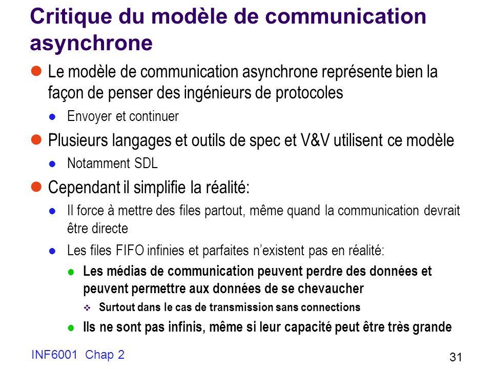INF6001 Chap 2 31 Critique du modèle de communication asynchrone Le modèle de communication asynchrone représente bien la façon de penser des ingénieu