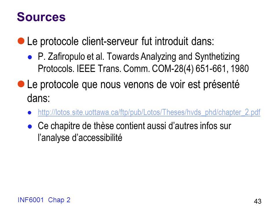 INF6001 Chap 2 43 Sources Le protocole client-serveur fut introduit dans: P. Zafiropulo et al. Towards Analyzing and Synthetizing Protocols. IEEE Tran