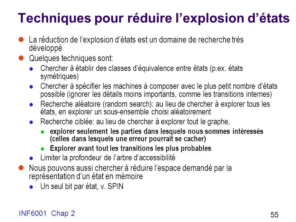 INF6001 Chap 2 55 Techniques pour réduire lexplosion détats La réduction de lexplosion détats est un domaine de recherche très développé Quelques tech