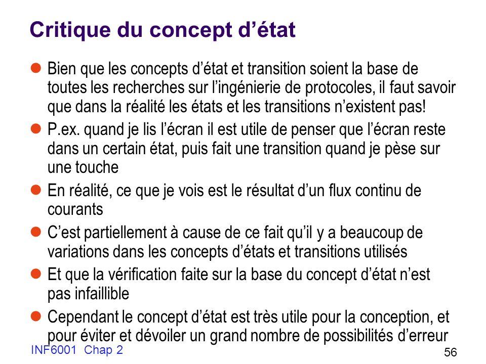 INF6001 Chap 2 56 Critique du concept détat Bien que les concepts détat et transition soient la base de toutes les recherches sur lingénierie de proto