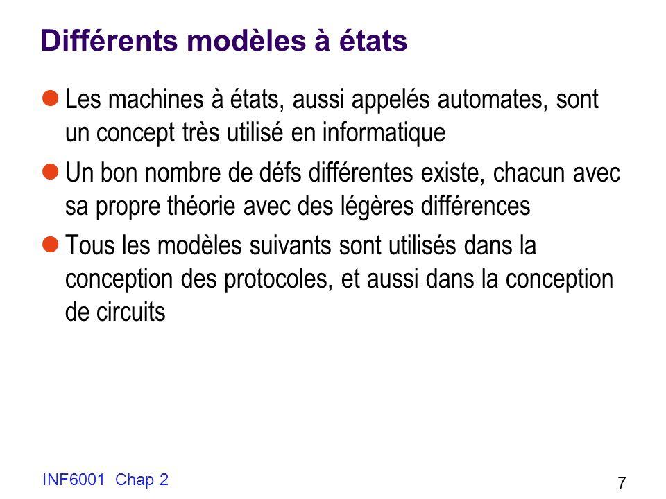 INF6001 Chap 2 7 Différents modèles à états Les machines à états, aussi appelés automates, sont un concept très utilisé en informatique Un bon nombre