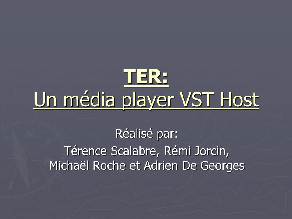 TER: Un média player VST Host Réalisé par: Térence Scalabre, Rémi Jorcin, Michaël Roche et Adrien De Georges