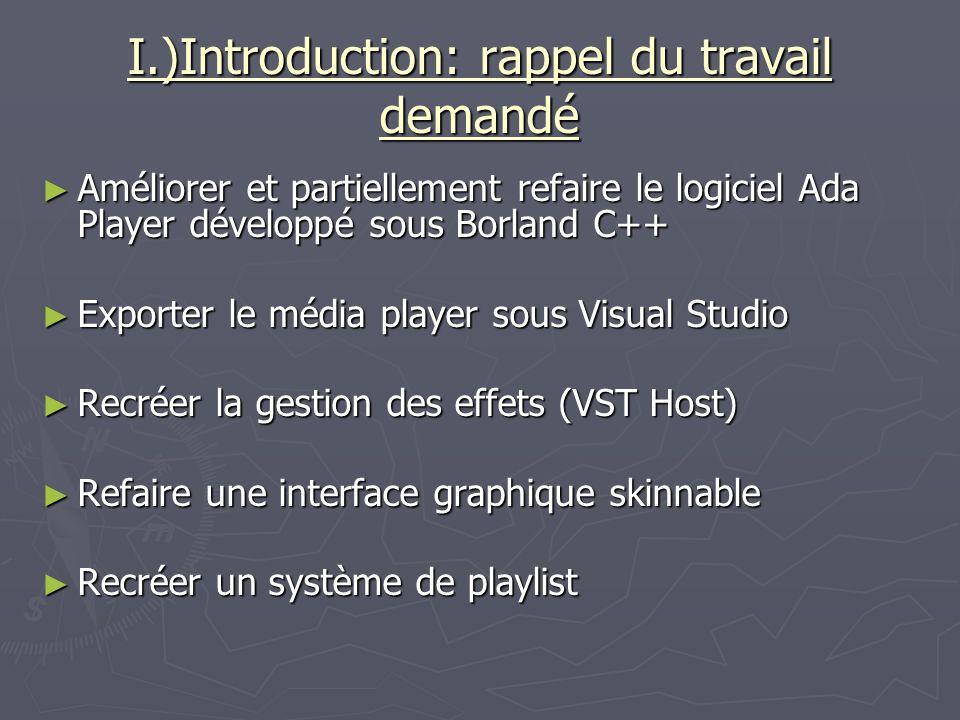 I.)Introduction: rappel du travail demandé Améliorer et partiellement refaire le logiciel Ada Player développé sous Borland C++ Améliorer et partielle