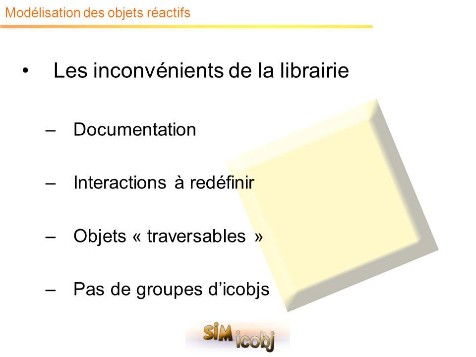 Modélisation des objets réactifs Les inconvénients de la librairie –Documentation –Interactions à redéfinir –Objets « traversables » –Pas de groupes d