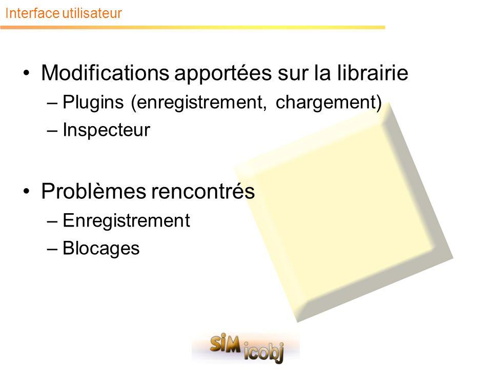 Interface utilisateur Modifications apportées sur la librairie –Plugins (enregistrement, chargement) –Inspecteur Problèmes rencontrés –Enregistrement