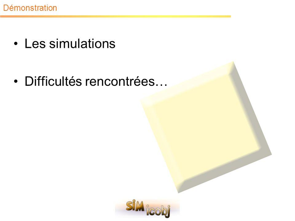 Les simulations Difficultés rencontrées…