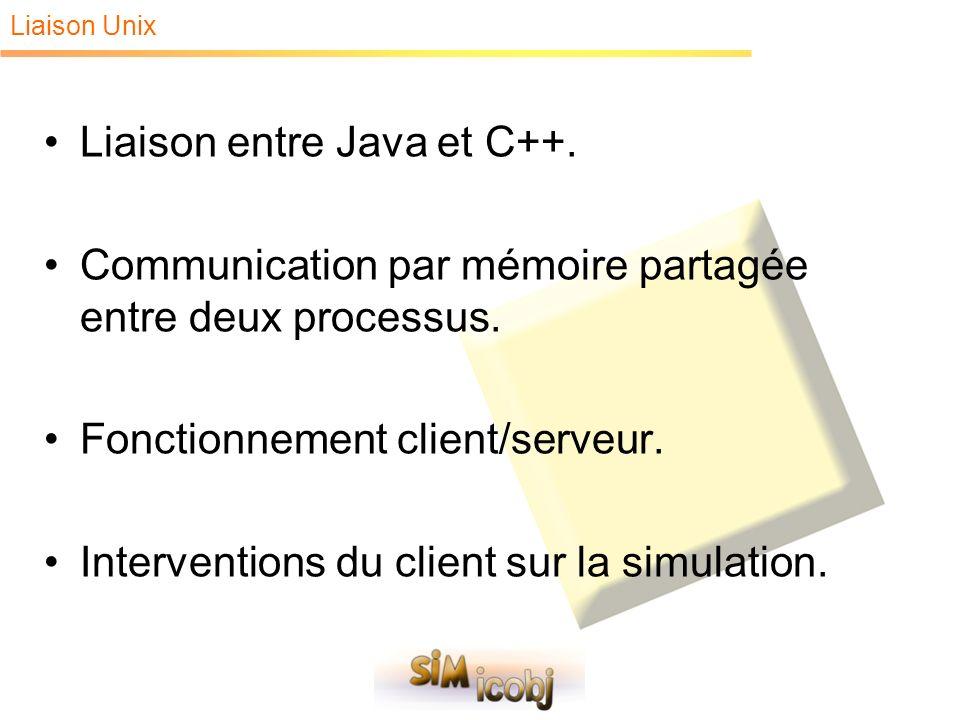Liaison entre Java et C++. Communication par mémoire partagée entre deux processus. Fonctionnement client/serveur. Interventions du client sur la simu