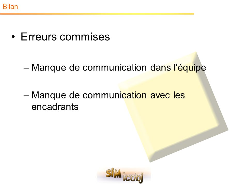 Bilan Erreurs commises –Manque de communication dans léquipe –Manque de communication avec les encadrants