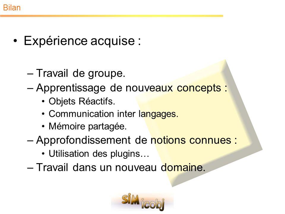 Bilan Expérience acquise : –Travail de groupe. –Apprentissage de nouveaux concepts : Objets Réactifs. Communication inter langages. Mémoire partagée.