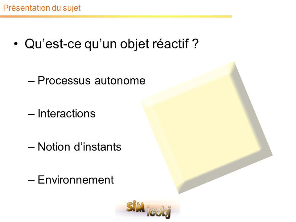 Présentation du sujet Quest-ce quun objet réactif ? –Processus autonome –Interactions –Notion dinstants –Environnement