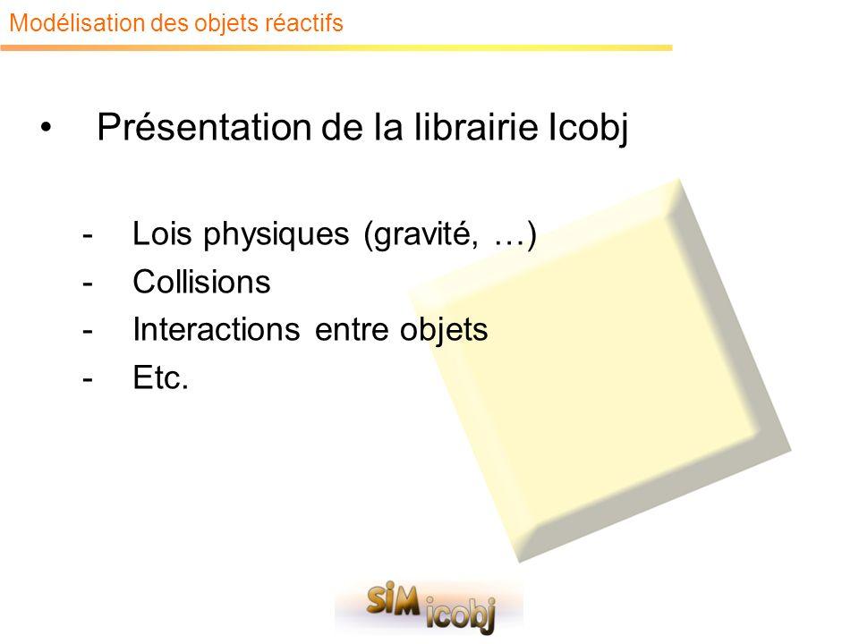 Modélisation des objets réactifs Présentation de la librairie Icobj -Lois physiques (gravité, …) -Collisions -Interactions entre objets -Etc.