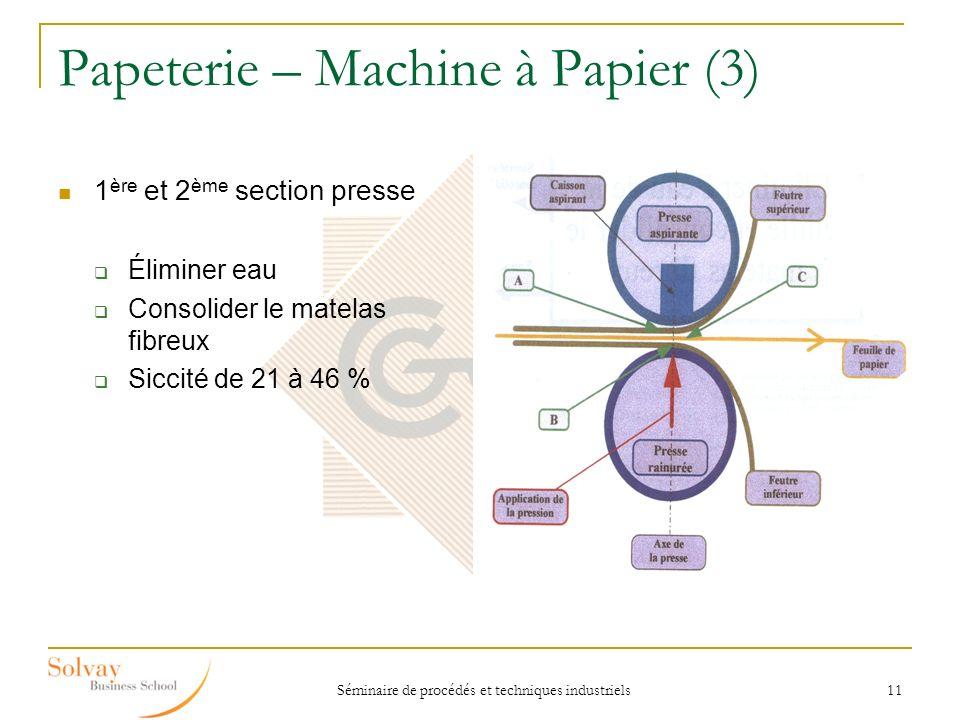 Séminaire de procédés et techniques industriels 11 Papeterie – Machine à Papier (3) 1 ère et 2 ème section presse Éliminer eau Consolider le matelas f