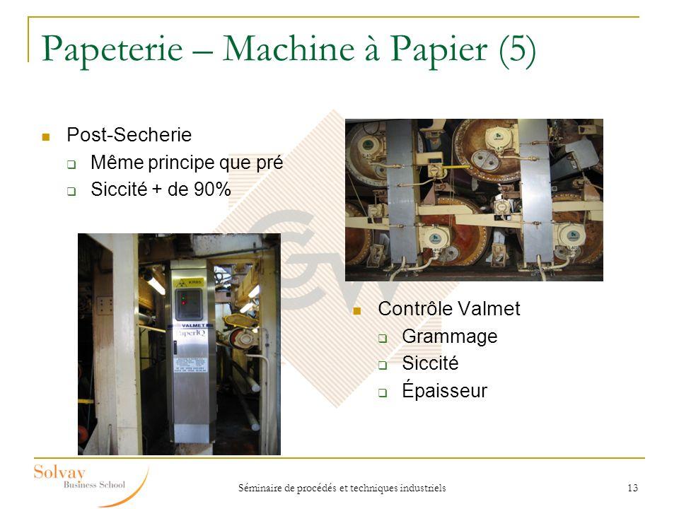 Séminaire de procédés et techniques industriels 13 Papeterie – Machine à Papier (5) Post-Secherie Même principe que pré Siccité + de 90% Contrôle Valm